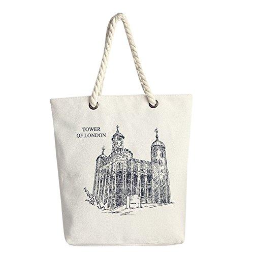 Longra Sacchetto di spalla della borsa della tela di canapa di stile delle donne Mori Bianco_E