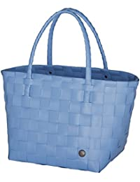 Unek Goods Handed By Paris Woven Reusable Shopping Tote Bag, Dusk Blue
