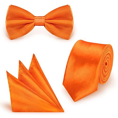StickandShine Inh. Christian Müller 3 in 1 SET hochwertige Satin Polyester Krawatte Fliege Einstecktuch Orange