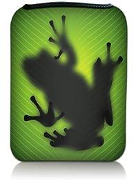 Luxburg® Design pochette housse étui sleeve pour Medion Lifetab P7331, Acer Iconia Talk 7, Trekstor surftab 7.0, Samsung Galaxy Tab 4 (7.0) / Tab A 7.0, Asus ZenPad 7.0, Kurio TAB 2+, Huawei Mediapad X1 7.0, Lenovo Tab3 7 Plus, Asus Nexus 7, motif: Grenouille noir sur vert silhouette