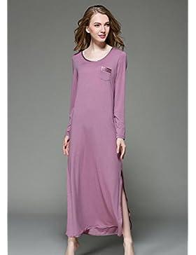 DMMSS Accappatoio donna cotone maniche lunghe pizzo camicia da notte pigiami , xl