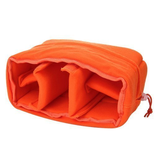 Ende Innentaschen (Yimidear stoßfest gepolsterte faltbare Trennwand Kamera-Einsatzes Schutztasche für DSLR erschossen oder Flash Light (Orange))