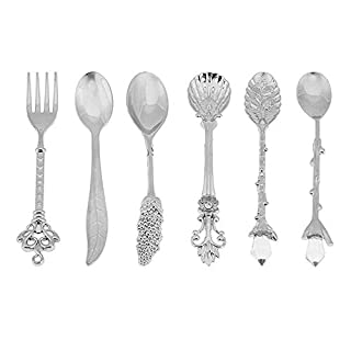 Happyqueen Set of 6pcs Tableware Flatware Kitchen Dining Bar Nostalgic Vintage Royal Style Metal Carved Coffee Spoons and Fork for Sweet Snacks (Silver) by Aoxintek