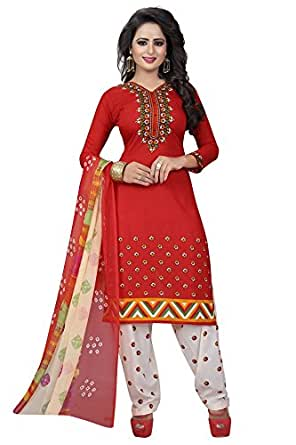 Rensila Red Faux Cotton Women's Dress Material (Rf_Red Salwar Suit_Tp Dress Material_Free Size)