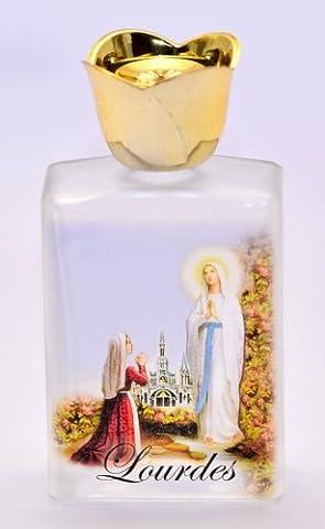 Lourdes Sainte d'eau dans une bouteille en verre + Lourdes Carte de Prière.