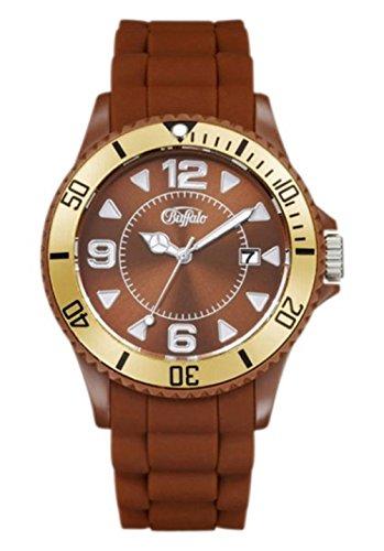 BUFFALO Armbanduhr mit Silikonband braun / gold Quartzwerk und Mineralglas