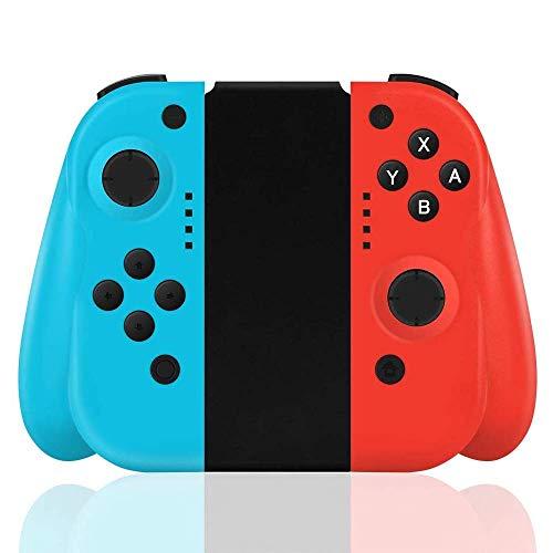 FiiMoo Wireless Controller per Nintendo Switch, Bluetooth Joystick Gamepad Sostituzione per JOYCON Dual Motori Axis Gyro Compatibile con Nintendo Switch PRO (Rosso & e blu,Prodotti di terze parti)
