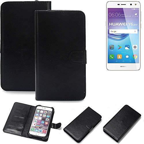 K-S-Trade Wallet Case Handyhülle für Huawei Y6 2017 Single SIM Schutz Hülle Smartphone Flip Cover Flipstyle Tasche Schutzhülle Flipcover Slim Bumper schwarz, 1x