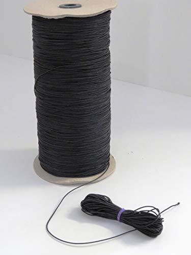 MB Gummikordel, 1 mm Bandstärke, Bandfarbe schwarz, 65% Dehnung, 10 Meter am Stück