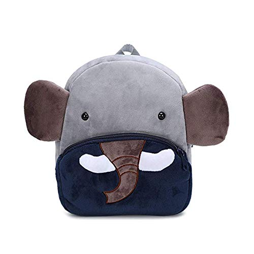 Sac à Dos Enfant Anti-Perte Forme Animale Mignonne en Peluche Mini - Sacs d'école Maternelle pour garçons Filles de 1-5 Ans (Éléphant, Gris)