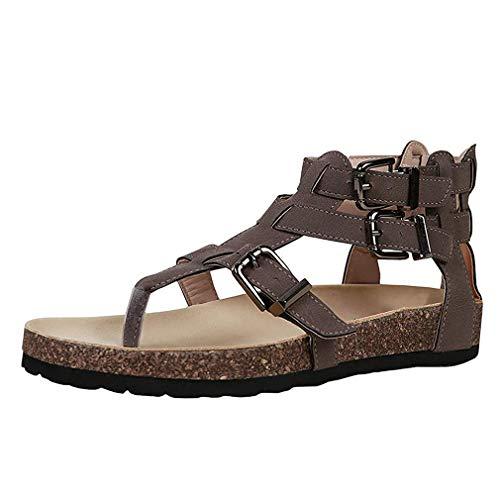 Leder Flache Schuhe (Damen Sandalen Flache Knöchel Schnalle Zehentrenner Flip Flop Sommerschuhe Leder Casual Elegant Schuhe Schwarz Braun Beige Gr.35-43 BR43)