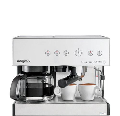 Magimix 11423 Expresso et filtre automatique cafetière pour café moulu ou dosette, Chrome mat, 2010W