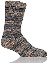 Mens 1 paire Totes doublées en polaire Spaced Yarn Bloc Stripe Slipper Socks