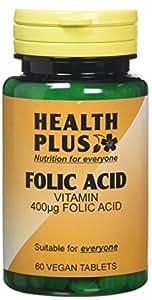 Health Plus Folic Acid 400g Vitamin B Supplement - 2 X Packs Of 60 Tablets (120 Tablets)