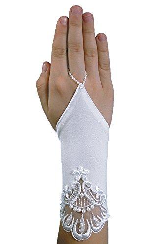 Schicke kurze fingerlose Kommunionhandschuhe Handschuhe zur Kommunion, Spitze, Perlen, Mädchen KA-42