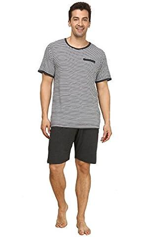 Pyjama Mens Tshirt Top & Shorts - Suntasty Short Sleeve Sleepwear Striped Nightwear 2 Piece Classic PJ Set Top and short pants Comfy Loungewear