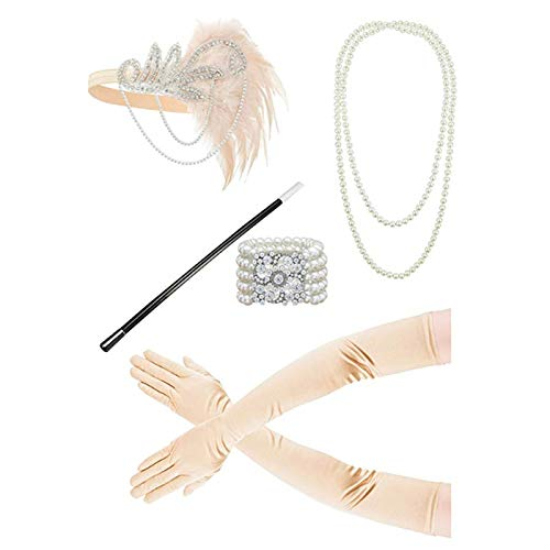 Epinki Damen 1920er Jahre Zubehörset Flapper Kostüm Feder Retro Stirnband/Perlenkette/Perlenarmband Handschuhe/Zigarettenhalter 20s Kostüme Inspiriert Accessoires Rosa (Tahiti Kostüm)