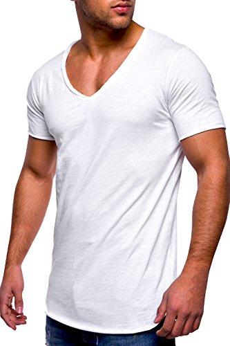 Gemijacka Herren Tief V-Ausschnitt T-Shirt Basic Kurzarm Oversize Einfarbiges Shirt