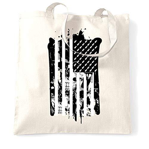 Tim And Ted Amerikanische Flagge Tragetasche Stilisierte mit Schädel und Bomben White One Size -