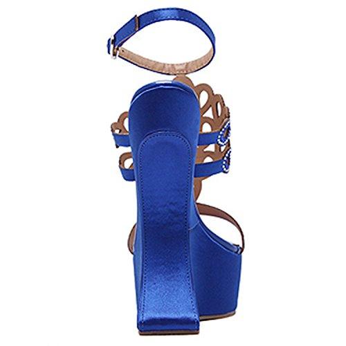 Oasap Women's Rhinestone Open Toe Hoof Heels Sandals Blue