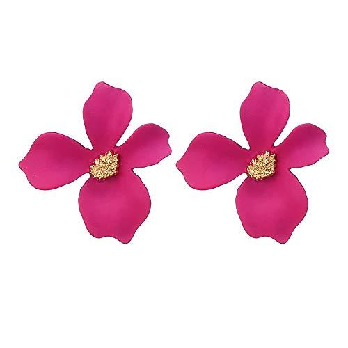 VithconlFrauen frische Temperament 5-Farben-Blütenblatt-Blumen-Ohrring-Legierungs-Ohrringe (Hot Pink)