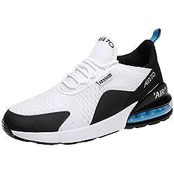 GNEDIAE Homme AIR 270 Bas-Top Chaussures de Sport décontractées pour tissés Volants amortissant Les Chaussures à Coussin d' antidérapantes Chaussures de Course Blanc 41 EU
