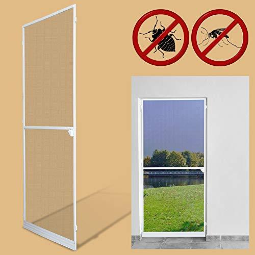 Vingo Fliegengitter 120X210Cm Tür Wasserdicht Fliegengitter Fenster Mückenschutz Gitter Alu-Rahmen Weiß Gaze Uv-Schutz Tür Wohnzimmer Balkone Kinderzimmer
