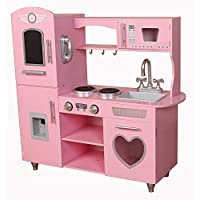 Kiddi-Style Supreme Classic Retro Hearts Chefs XLarge Childrens Kids Pretend Play Toy Wooden Kitchen - Pink