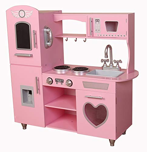Kiddi-style Supreme Classic Retro Hearts Chefs Xlarge Childrens Kids Pretend Play Toy Wooden Kitchen - Pink