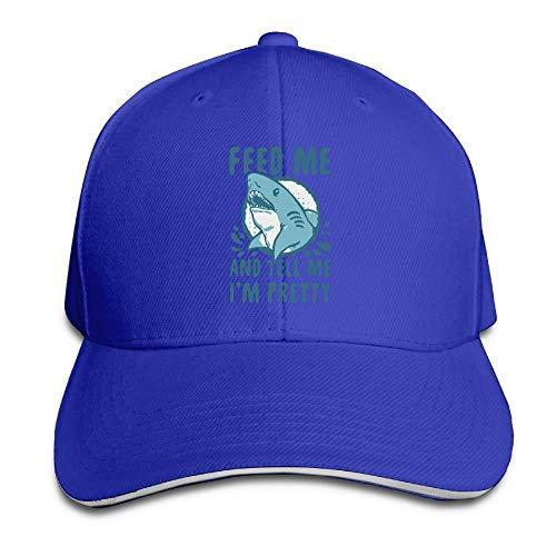 Presock Prämie Unisex Kappe Feed Me and Tell Me I'm Pretty Shark Adult Adjustable Snapback Hats Sandwich Cap