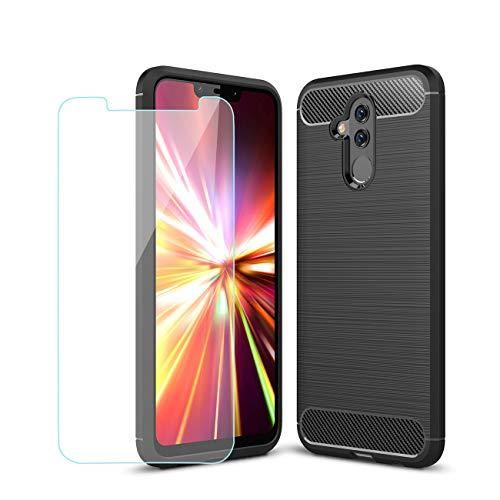 Finelain Huawei Mate 20X Custodia Cover + HD Pellicola Protettiva, Silicone AntiGraffio Protezione Custodia [Look in Fibra di fiberio] TPU Antiurto Protezione Custodia - Nero