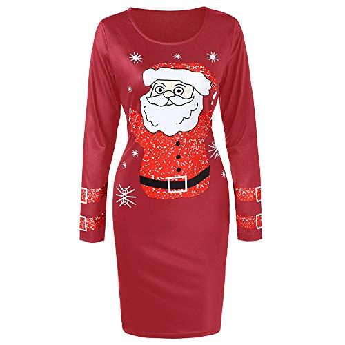 Xmiral Weihnachten Kleid-Damen O-Ansatz Lange Hülsen-Weihnachtsmann Printed Bodycon Kleider (M,Rot)