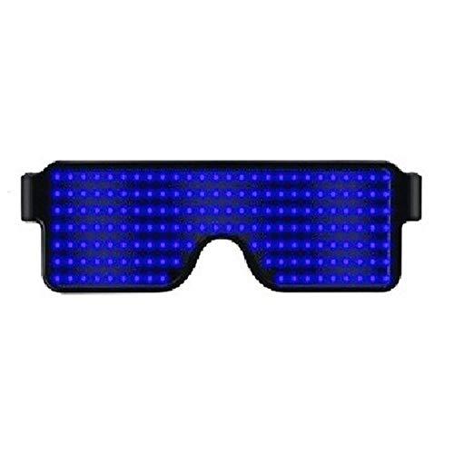 LINGKY Leuchtbrille LED Shutter Shade Brille USB Ladevorgang Leuchten Gläser Für Party Masquerade, Nacht Pub,Bar Klub Rave (Blau)