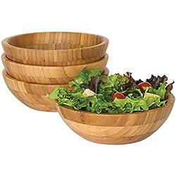 Bol de service rond en bambou pour salades de fruits ou de cuisine salle à manger bols soupières 4PCS Bowl