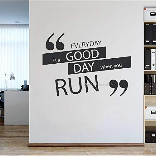 zhuziji Gym Wanddekoration Gym Zitate sind EIN guter Tag jeden Tag, wenn Sie Wand Fitness Kunst Wandaufkleber Sport Thema Tapeten L59x42cm Laufen