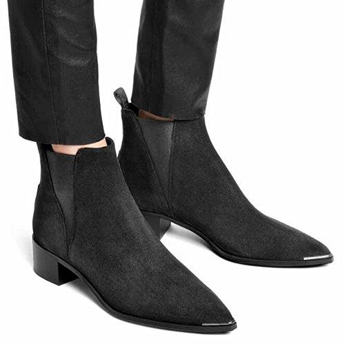 GLTER Scarpe da donna in pelle nera a punta da donna 2017 Autunno Nero Scarpe in pelle nera Black 3