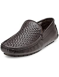 Teakwood Men's Real Genuine Leather Braided Slip-on Mocassin Loafers Casual Shoes