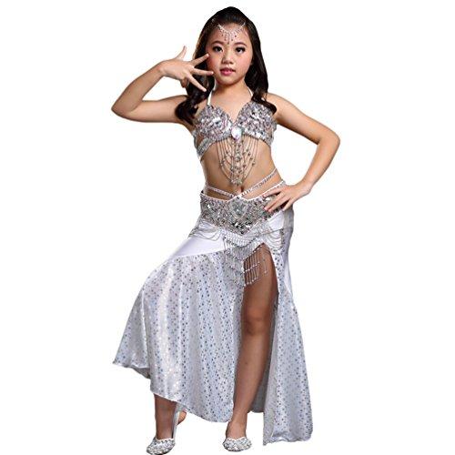 (Xinwcang Mädchens Kleid Bauchtanz Pailletten Halloween Karneval Darbietungen Kostüme Top + Rock Kostüme Set Silber (3PC) One Size)