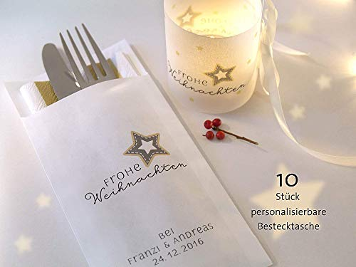 Personalisierbare Bestecktasche Frohe Weihnachten elegant weiß Setpreis für 10 Stück