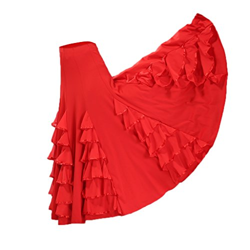 Baoblaze Vestido de Flamenca Ropa de Baile Complimentos de Mujer Falda de Tango Elegnate - Rojo, 85cm