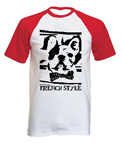 Teesquare1st Men's FRENCH BULLDOG FRENCH STYLE PB 34 Red Short Sleeved T-Shirt Size Medium