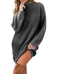 Robemon✬Chandail Robe Pull Femme Automne Hiver Col Haut La Mode Épais Tricot Mme Manches Longues Long Loose Texture Sweater Manteau