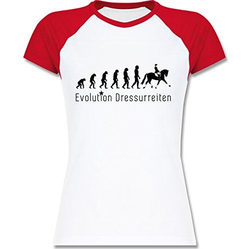 Shirtracer Evolution - Dressurreiten Evolution - Zweifarbiges Baseballshirt/Raglan T-Shirt für Damen Weiß/Rot