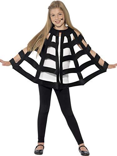 Halloweenia - Kinder Jungen Mädchen Spinnen Kostüm, Umhang im Spinnennetz Poncho Stil, perfekt für Halloween Karneval und Fasching, 116-152, - Spinnennetz Kostüm Poncho