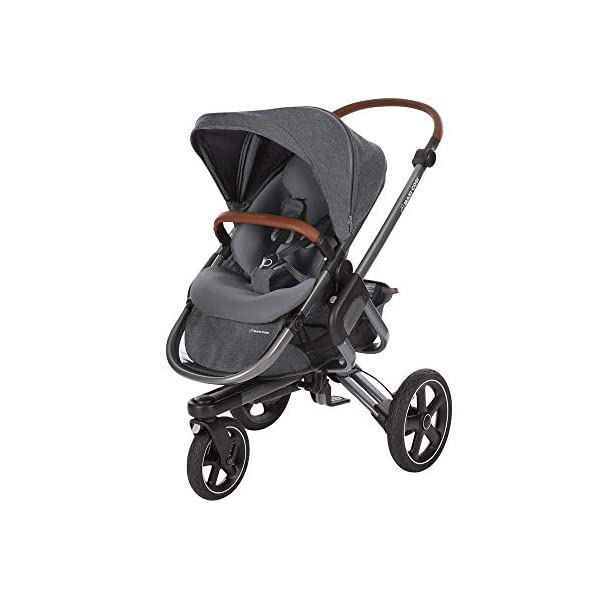 Maxi-Cosi Nova 3-Wheel, Sparkling Grey Maxi-Cosi Unique hands-free folding: just press the magic pedal with your foot and watch the stroller fold by itself in seconds All-terrain, shock absorbing wheels: puncture-proof tires and excellent suspension for smooth journeys over any obstacles Large, comfortable seat with ergonomic and ultra-padded inlay 1