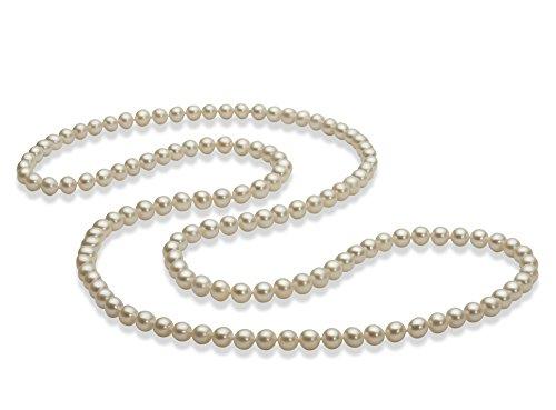 30 pollici Bianco 5-6mm Qualità AAA - Collana di Perle di Acqua Dolce - Bianco Bronzo