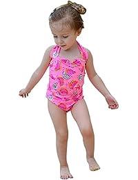 Chinatera Girl's One Pieces Halter Swimsuit Tankini Cartoon Watermelon Print Sunsuit Beachwear