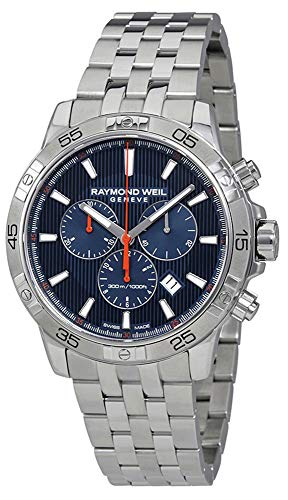Raymond Weil Tango Steel Quartz Chronograph Blue Patterned Dial Men's Watch Calendar 8560-ST2-50001