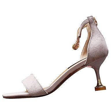 LvYuan Da donna Sandali Comoda PU (Poliuretano) Estate Comoda A stiletto Nero Grigio 7,5 - 9,5 cm gray