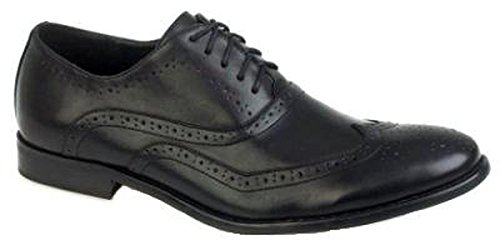 MENS ITALIAN DESIGNED BROGUES FORMAL SMART LACE UPS FAUX LEATHER GENTS SHOES BLACK SIZE 11